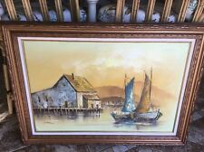 Vintage Estate NANSEN FISHING SAIL BOATS ORIGINAL OIL PAINTING