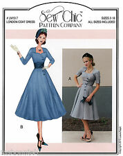 Sew Chic London Coat Dress Double Breasted, Retro Style size 2-18 Sewing Pattern