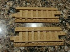 """2 fisher price geo trax 7"""" brown tan straight replacement track piece extra"""