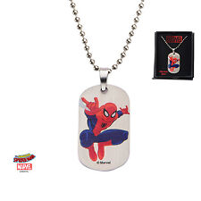 Stainless Steel Spider-Man Kids Dog Tag Pendant with Chain 16 Inch