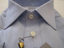 $225 NWT GOLD Luxury Ike Behar New York Blue Solid Dress Shirt 17.5 LS 32