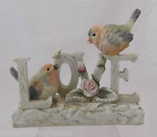 BEAUTIFUL BIRD FIGURINE SPELLS OUT LOVE WITH BUTTERFLY &  A ROSE PASTELS COLORS