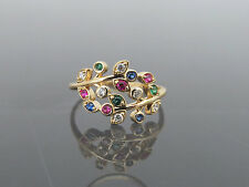 Vintage 18K Solid Yellow Gold Multi Color Mixed Gemstone Leaf Ring Size 7