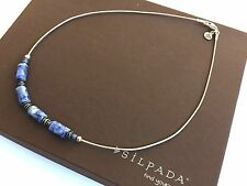 Rare!! Silpada Blue Sodalite Bead Sterling Silver Omega Chain Necklace - N1087