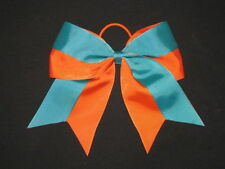 "NEW ""Two-Tone ORANGE & TEAL"" Cheer Bow Pony Tail Ribbon Girls Hair Cheerleading"