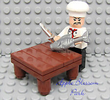 NEW Lego City SUSHI CHEF Minifig w/Table Fish Hat & Chrome Silver Kitchen Knife