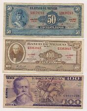 Three Banco De Mexico  Banknotes--No Pin Holes nor Tears !!