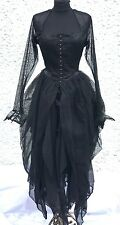 Gothic Victorian Ballroom Black Cobwebs Yolk Dress With Tiered Skirt In Size L