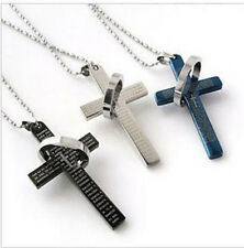 Cheap Fashion Mens Stainless Steel Cross Ring Chain Pendant Necklace