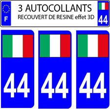 3 stickers plaque immatriculation auto DOMING 3D RESINE DRAPEAU ITALIE N° 44