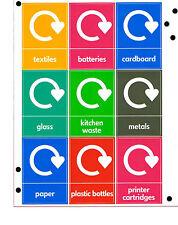 Pack Of 9 Wheelie Bin Waste Recycle Bins Vinyl Assorted Colours Labels Stickers