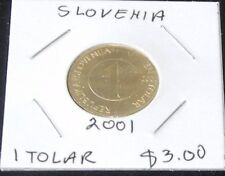 VERY NICE & SHINY TWO Slovenia Coins ~  2001 One Tolar Pieces (KM# 4)