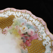 Antique Doulton Burslem Plate England scalloped edges gold pink roses signed