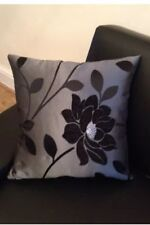 "18"" x 18""  Trendy Black and Silver cushion cover."