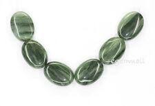 6 Green Line Quartz Flat Oval Beads 18x25mm #78047
