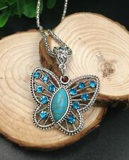 Perfect Tibet silver carving butterfly inlaid oval turquoise pendant & necklace