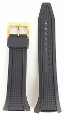 SEIKO BLACK RUBBER STRAP SNAB50P1 WATCH BAND 7T62-0HJ0 GOLD BUCKLE SNAB50J1 30mm