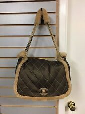 CHANEL Quilted Shearling Shoulder Tote Flap Bag Handbag
