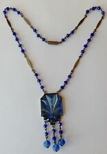 VINTAGE ART DECO CZECH BLUE VAUXHALL GLASS AND GLASS BEAD NECKLACE