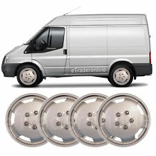 "Ford Transit Van 15"" Wheel Trims X 4 Silver Deep Dish Hub Caps Bulbous Trim New"