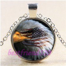 Eagle with American Flag Cabochon Glass Tibet Silver Chain Pendant Necklace#E27