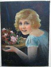 WILLIAM JOSEPH CARROLL FL1900-1940 BEAUTIFUL ORIGINAL SIGNED PORTRAIT OF A GIRL