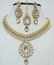 Gold Plated Diamond Stone Kundan Pearl Necklace Earrings Ethnic Jewellery Set