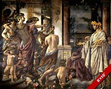 ANCIENT GREEK SYMPOSIUM DRINKING PARTY TOGETHER PAINTING ART REAL CANVAS PRINT