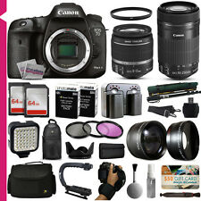 New Canon 7D Mark 2 DSLR Camera + 18-55mm + 55-250mm Lens + Accessory Bundle Kit