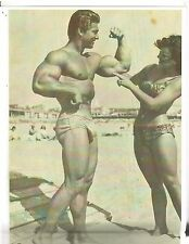 Larry Scott On Muscle Beach Pose with pretty girl bodybuilding Photo B&W