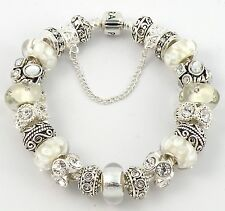 Authentic PANDORA Barrel Bracelet with WHITE European Charms & Murano Beads