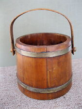"Antique Bucket Firkin Pail Wood Primitive Metal Bands, Bail Handle, 7"" Tall"