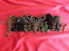 Betsey Johnson Dark Forest Deer Wolf Fox Acorn Black Rose Statement Bracelet