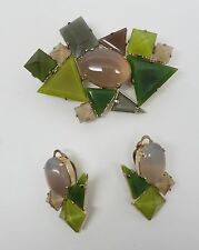 Haute Couture Philippe Ferrandis Quartz & Bohemian glass Brooch/Pendant Earrings