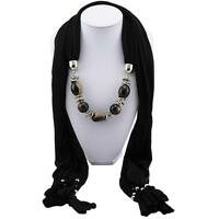 ladies black Cotton Acrylic Jewellery Scarf Necklace with vintage beads pendant