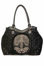 Banned Nero Floccato Cameo SKELETON Ribcage Handbag