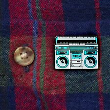 "1"" enamel die struck boombox radio lapel hat badge pinback pin"