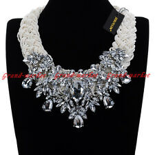 New Fashion White Crystal Resin Beads Chain Chunky Choker Statement Bib Necklace
