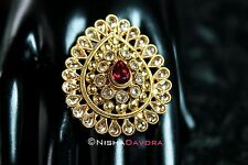 Gold Red Siam Swarovski Indian Finger Ring Adjustable Indian