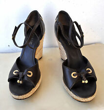 Rare BALLY Belview Brown Leather Cord Wedge Sandals Shoes Sz 41 Italy Authentic