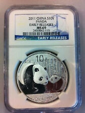 Chinese China ¥10 Panda 2011 1 oz .999 Silver Coin NGC MS 69 - Early Releases