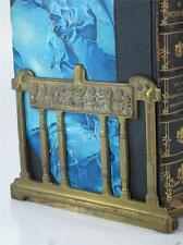 ART NOUVEAU SLIDING BOOK RACK ENDS 1890-20 BAS RELIEF Child Cherub,Columns Greek