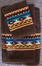WESTERN/SOUTHWEST DECOR RUSTIC 3 PC TOWEL SET,COCOA, VIBRANT AZTEC BORDER