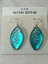 Alexis Bittar Lucite Dust Long Leaf Statement Earrings Aqua Bright BLUE