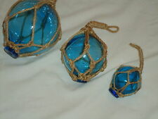 Turquoise Fishing Boat Net Floats - Buoys Set Of 3 Blown Glass Balls - Bathroom