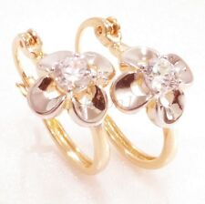 New 18K Yellow White Gold Plated CZ Cubic Zirconia Lady Flower Hoop Earrings