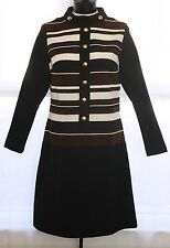 Vtg 60s Textured Poly Stripes Space Age Mod Long Sleeves High Neck Dress