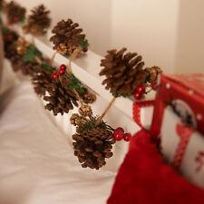 Handmade GHIRLANDA Pine Cone & BERRY 2M tradizionale DECORAZIONE NATALIZIA DECORAZIONI