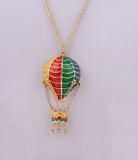 N814 BETSEY JOHNSON Retro Picnic Memories Hot Air Balloon Flight Necklace  US
