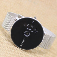 Turntable Dial Unique Design Silver Mesh Analog Quartz Sport Wrist Watch Gifts